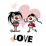 Amor dos palhaços Foto de Stock Royalty Free
