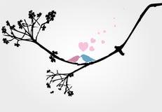 Amor dos pássaros no vetor da árvore Imagens de Stock Royalty Free