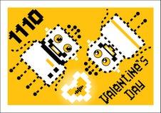 Amor dos robôs dos desenhos animados Valentim, cartão para o dia do ` s do Valentim fotos de stock