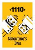 Amor dos robôs dos desenhos animados Valentim, cartão para o dia do ` s do Valentim foto de stock royalty free