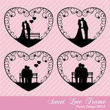 Amor dulce en marco del corazón Foto de archivo