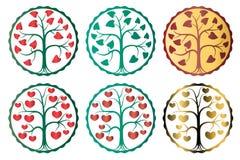 Amor e árvore nupcial do sinal com corações Imagens de Stock