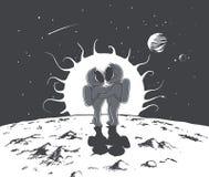 Amor e astronautas ilustração stock
