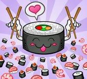 Amor e Chopsticks do caráter do sushi Fotos de Stock Royalty Free