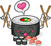 Amor e Chopsticks do caráter do sushi Imagem de Stock