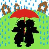 Amor e chuva Imagens de Stock