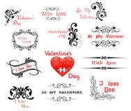 Amor e encabeçamentos caligráficos do dia de Valentine ilustração stock