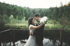 Amor e paixão - o beijo de pares novos casados do casamento aproxima o lago Fotos de Stock Royalty Free