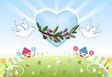 Amor e paz à terra com pombas brancas ilustração do vetor