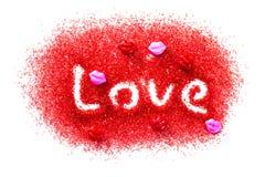 Amor en azúcar rojo Foto de archivo libre de regalías