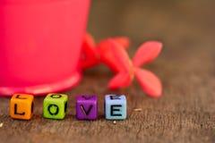 Amor en el tablero de madera y el Ixora Fotos de archivo libres de regalías