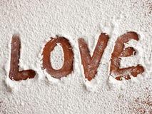 Amor en harina Imágenes de archivo libres de regalías