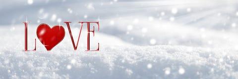 Amor en la nieve stock de ilustración