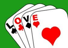 Amor en las tarjetas Foto de archivo libre de regalías