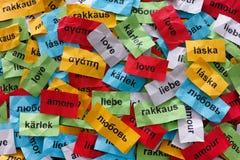 Amor en muchas idiomas fotografía de archivo libre de regalías