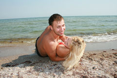 Amor en playa Foto de archivo