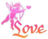 ¡Amor escrito artístico del ` de la sola palabra! ` y caza del cupido para los corazones Imágenes de archivo libres de regalías
