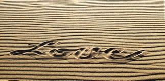 Amor escrito en la arena, gran parque de Natioanl de las dunas de arena y pre Fotos de archivo