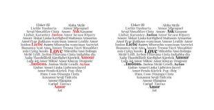 Amor escrito en otros idiomas, diseño del corazón, etiquetas de la pared stock de ilustración