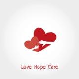 Amor, esperança, logotipo do cuidado, ilustração do vetor Foto de Stock