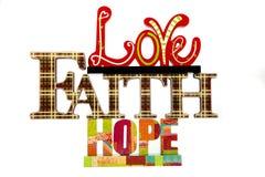 Amor, fé, & esperança Imagens de Stock