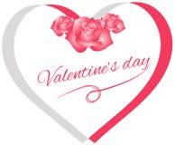 Amor feliz del día de San Valentín con la bandera del corazón imagenes de archivo