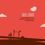 Amor grande en el paisaje hermoso ilustración del vector