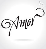 AMOR hand lettering (vector) Stock Photos