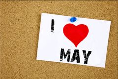 Amor hola mayo de la demostración I de la inspiración del subtítulo del texto de la escritura de la mano Concepto de la primavera Fotografía de archivo libre de regalías