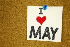 Amor hola mayo de la demostración I de la inspiración del subtítulo del texto de la escritura de la mano Concepto de la primavera Fotos de archivo libres de regalías