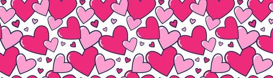 Amor horizontal colorido DecorationPoster del día de fiesta de la bandera de Valentine Day Background Pink Hearts o diseño web Imagen de archivo libre de regalías