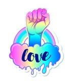 Amor igual Cartel inspirado del orgullo gay con espectro del arco iris ilustración del vector