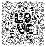 Amor - ilustração tirada mão O Valentim escrito à mão das citações românticas deseja para cartões do feriado handwritten Fotos de Stock