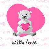 Amor imprimível com o urso bonito que guarda o coração Fotos de Stock Royalty Free