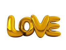 Amor inflável da palavra do ouro 3d ilustração do vetor