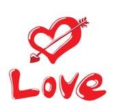 Amor lustroso no vermelho Ilustração Stock
