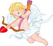 Amor mit dem Pfeil und Bogen, der jemand anstrebt stock abbildung
