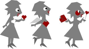 Amor-mujer divertida aislada en blanco stock de ilustración