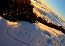 Amor na neve Foto de Stock Royalty Free