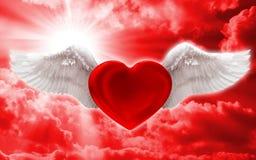 Amor no fundo do azul do ar Fotografia de Stock Royalty Free