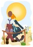 Amor no por do sol ilustração royalty free