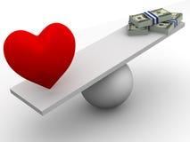 Amor ou dinheiro Imagem de Stock
