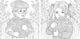 Amor Páginas da coloração Livro para colorir para adultos Imagens colorindo com as crianças bonitas que guardam corações do dia d ilustração stock
