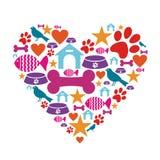 Amor para a coleção do ícone dos animais de estimação Foto de Stock