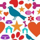 Amor para el modelo inconsútil del icono de los animales domésticos Imágenes de archivo libres de regalías