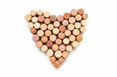 Amor para el vino S?mbolo del coraz?n del corcho del vino fotos de archivo