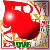 Amor para la tarjeta del día de San Valentín stock de ilustración