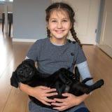 Amor para o conceito dos animais Animal de estimação e criança fotografia de stock
