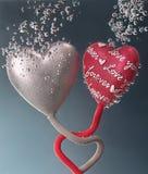 Amor para sempre entre dois corações Imagem de Stock