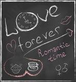 Amor para siempre y mano romántica del concepto del tiempo dibujada  Foto de archivo